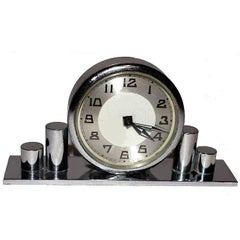 Miniature 1930s French Art Deco Chrome Clock