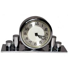 Miniature 1930s French Art Deco Chrome Clock
