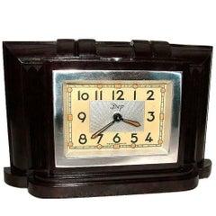Art Deco Very Attractive Miniature 1930s French Bakelite Clock by Dep