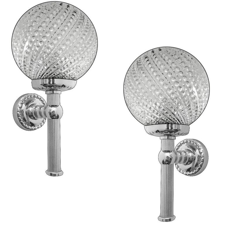 Pair of Mid-Century Glass and Chrome Sconces, 1970s Modernist Design Lights For Sale at 1stdibs