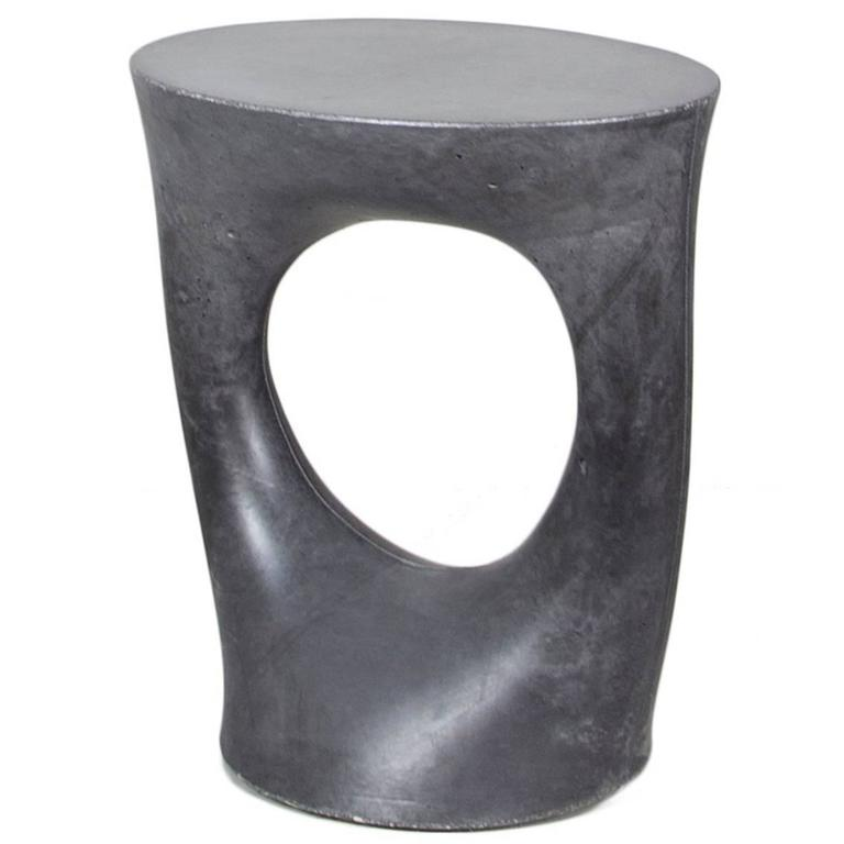 Short Charcoal Kreten Side Table From Souda, Modern Black Concrete End Table  1