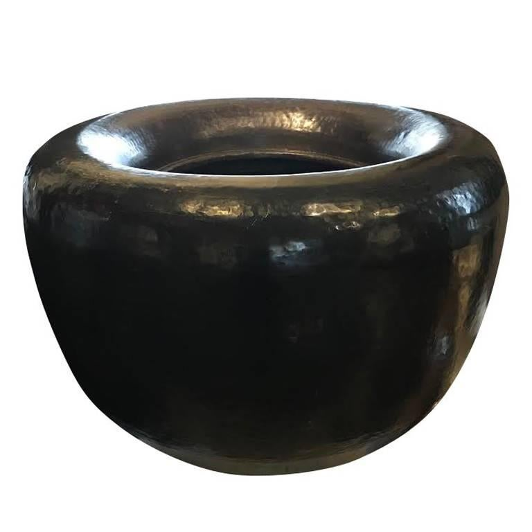 Early 20th Century Indian Round Brass Planter For Sale
