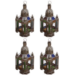 Moroccan Metal Lantern with Colored and Clear Glass