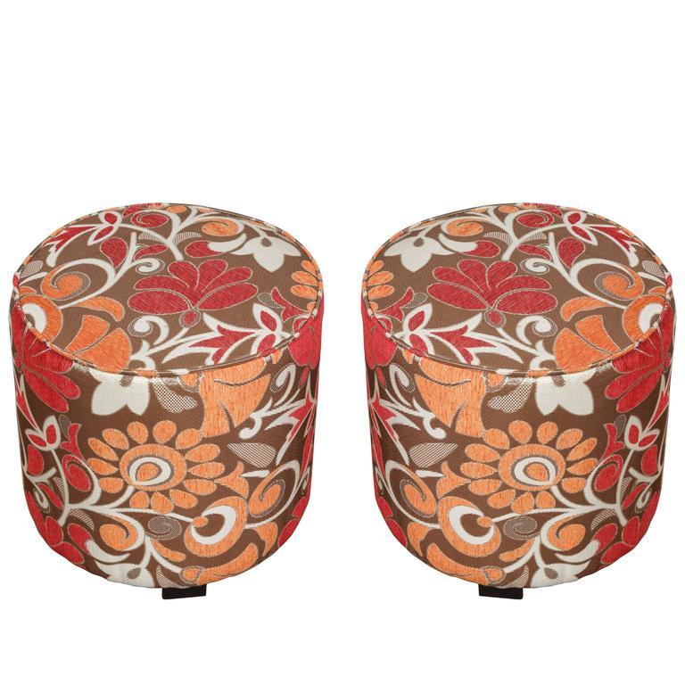 Pair of Cylindrical Stools in Modern Velvet Upholstery in 1970s Style