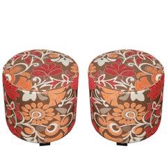 Pair of Cylindrical Bohemian Poufs in Post Modern Velvet Upholstery 1970s Style