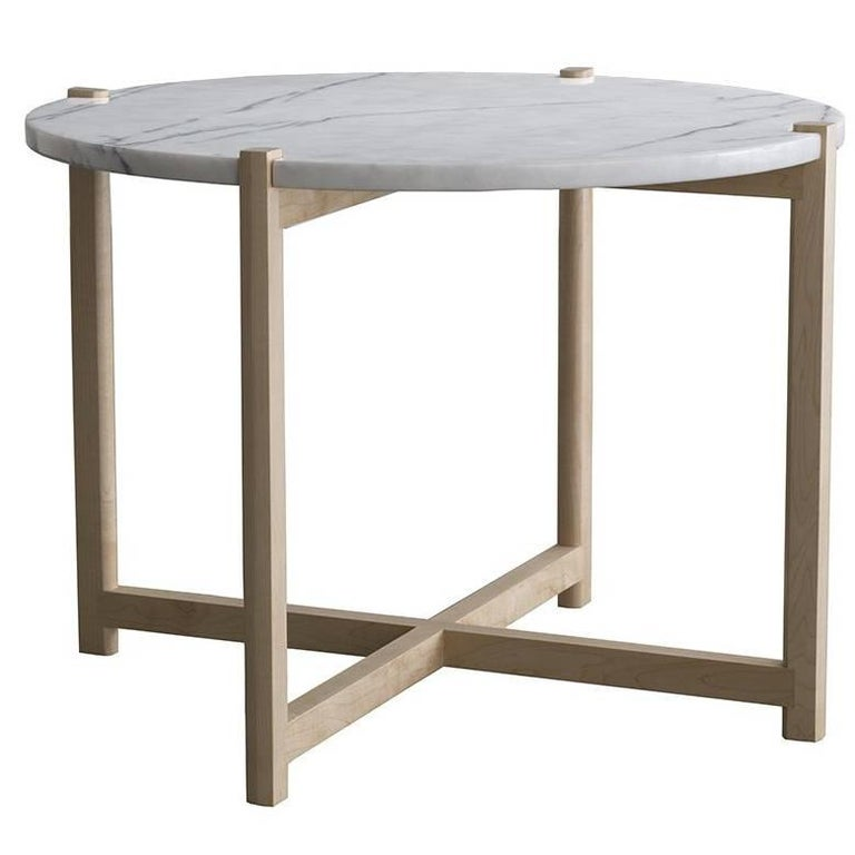 Pierce End Table, Maple Hardwood, Round White Carrara Marble Top For Sale