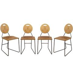 Set of Four Plywood and Iron Chairs, circa 1965