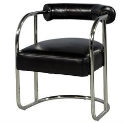 Luxurious Bauhaus Inspired Black Leather Chair