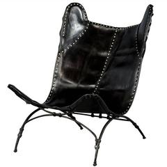 Modern Black Saddle Leather Camp Chair