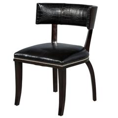 Modern Macassar Curved Back Accent Chair