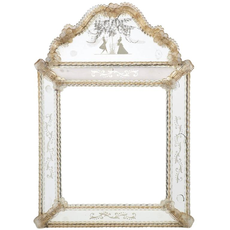 Antique Venetian Glass Mirror by Barbini For Sale at 1stdibs