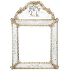 Antique Venetian Glass Mirror by Barbini