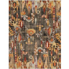 Art Deco Rug, Carpet from India Multi Colored Hand Woven Rug