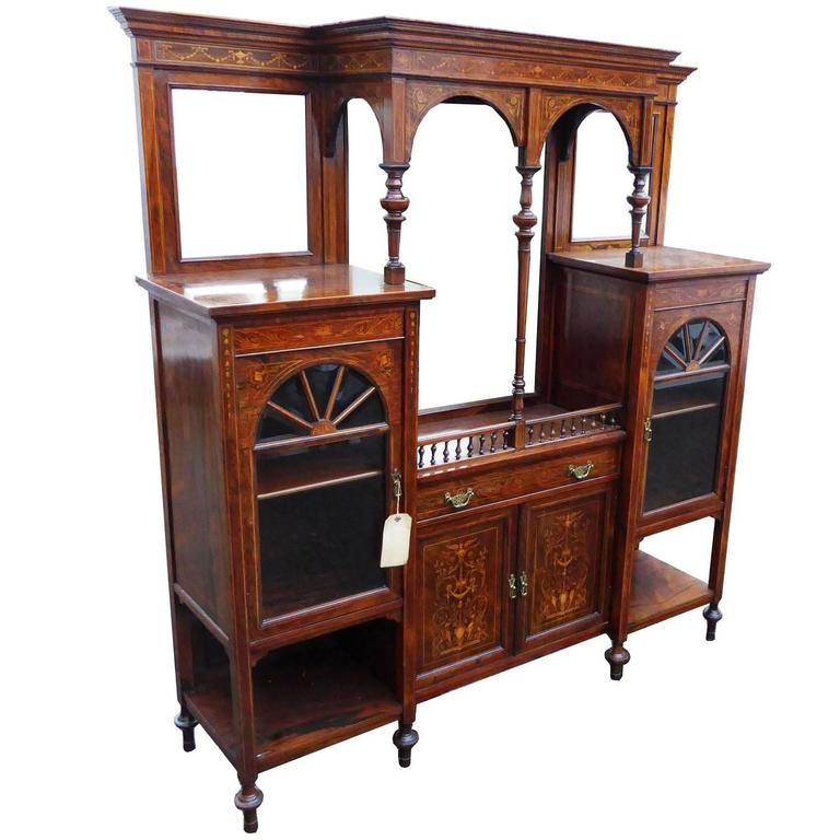 Edwardian Roseweed and Marquetry Display Cabinet