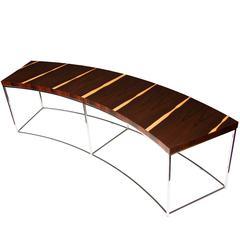 Milo Baughman Curved Rosewood Veneer Table