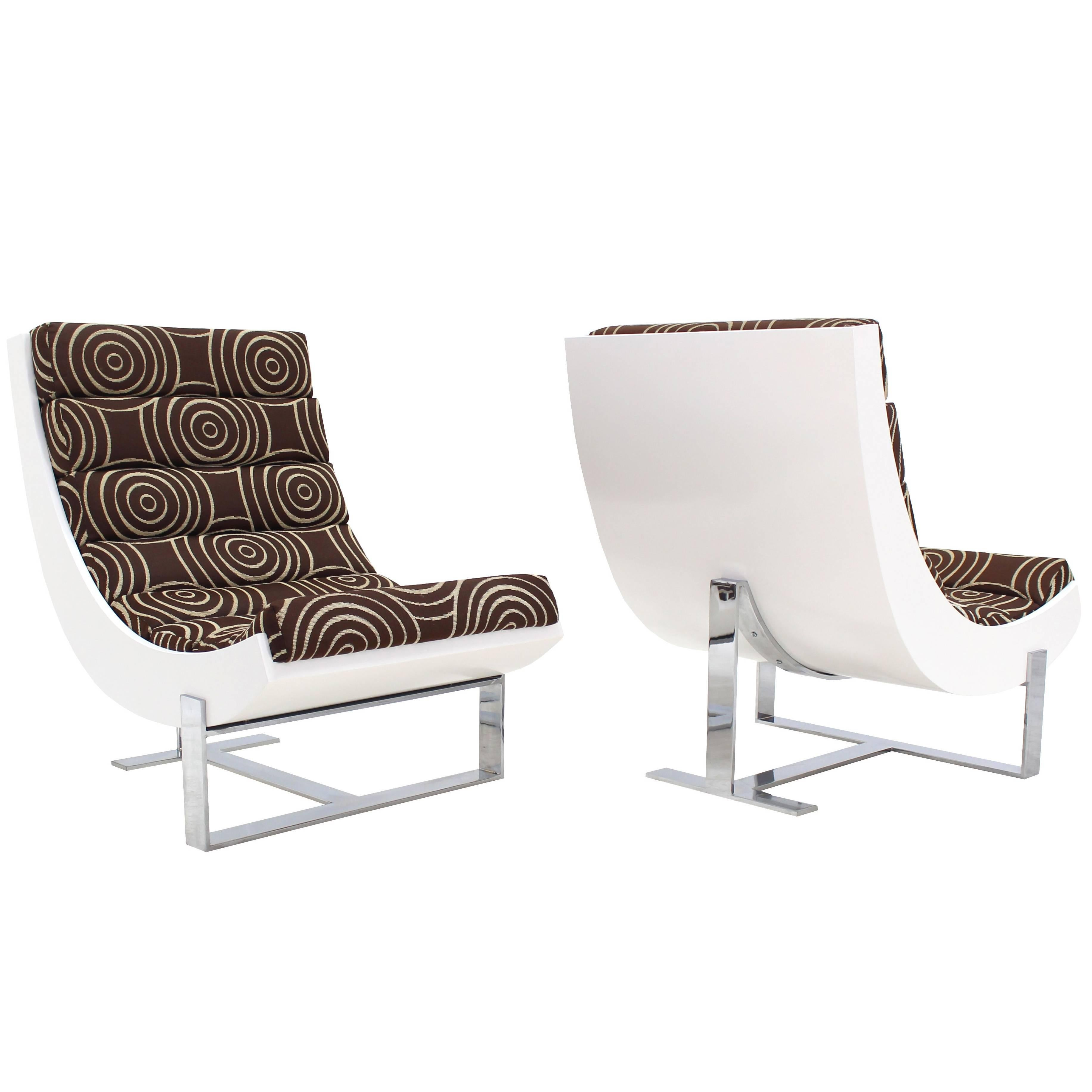 Pair of White Lacquer Chrome Bases Scoop Lounge Chairs Mid Century Modern