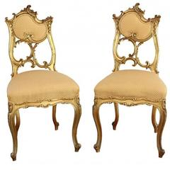 Pair of Antique Rococo Style Ball Room Chairs