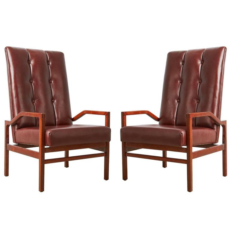 Danish Teak and Tufted Leather Pair of Armchairs, circa 1960