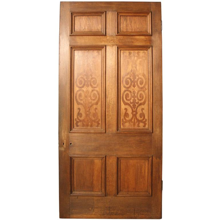 Large Antique Oak Six-Panel Door with Marquetry Panels For Sale - Large Antique Oak Six-Panel Door With Marquetry Panels For Sale At