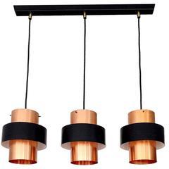 Tunika Lamps by Jo Hammerborg Copper Chandelier, 1960s Danish Modern