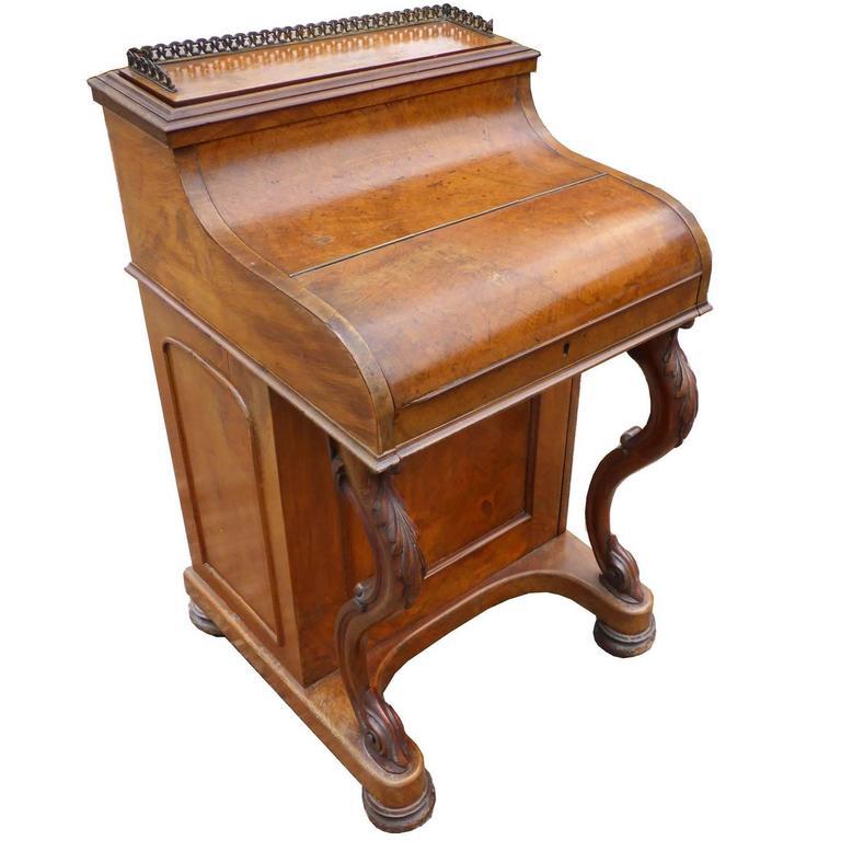 19th Century Burr Walnut Piano Top Pop Up Davenport 1