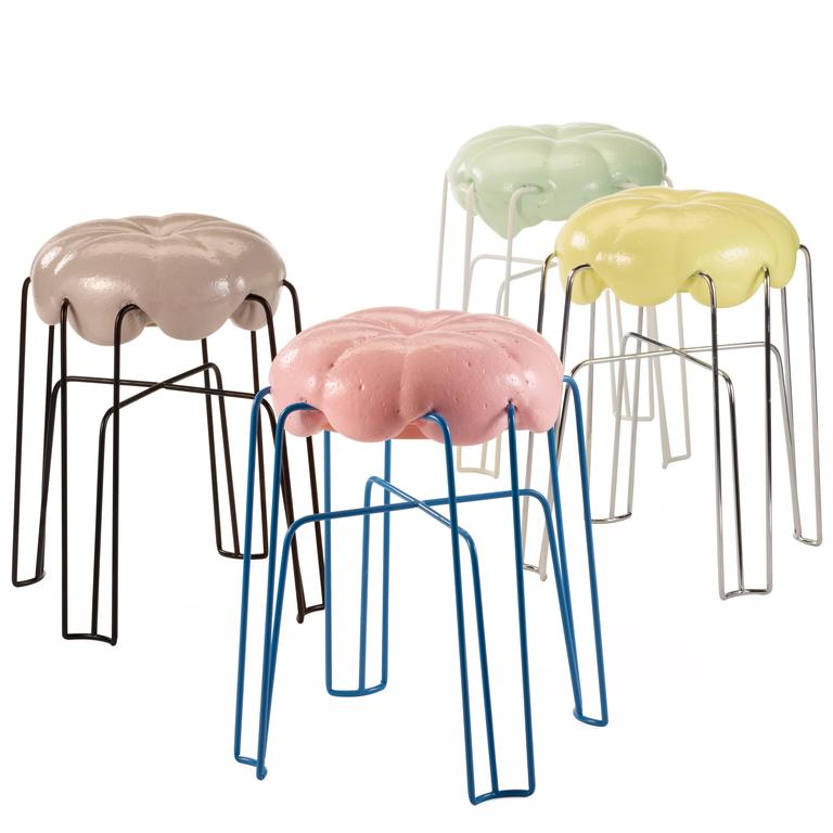 Marshmallow Stool by Paul Ketz in Sugarpink Polyurethane Foam and Steel 2