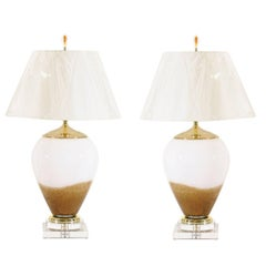 Exceptional Pair of Blown Glass Lamps in Caramel and Cream