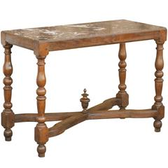 French Wood Pastry Table with Marble Top