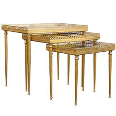 Set of Bronze Stack Tables with Distressed Mirror Tops