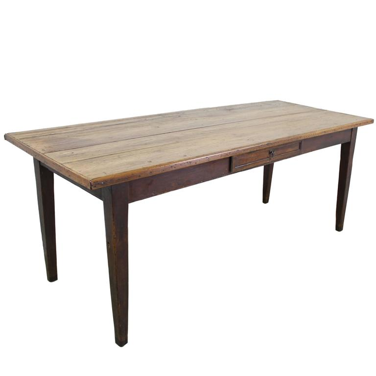 Antique Pine Farm Table With Single Drawer And Decorative