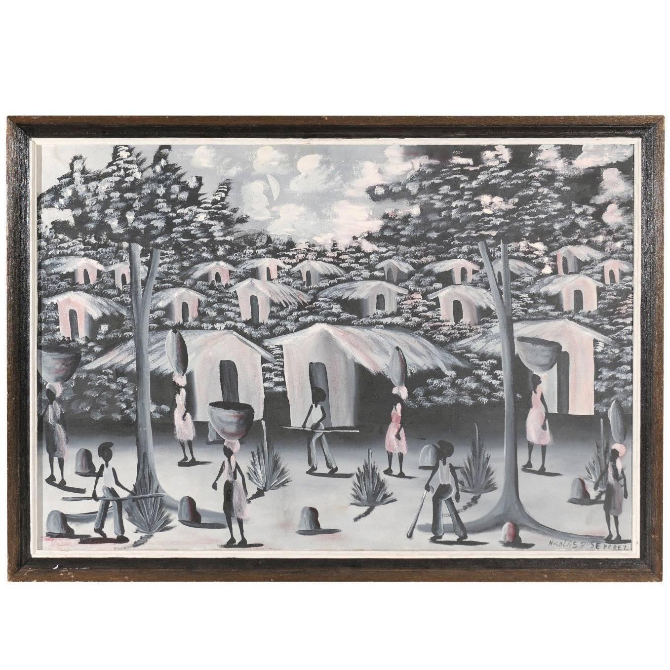 Vintage Haitian Village Painting