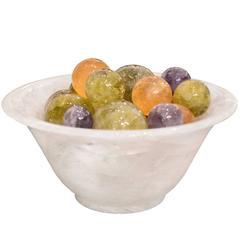 Super Large Rock Crystal Quartz Bowl with Balls