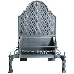 Large 19th Century Cast Iron Fire Grate