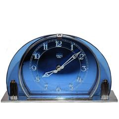 English Blue Glass Art Deco Clock by Smiths