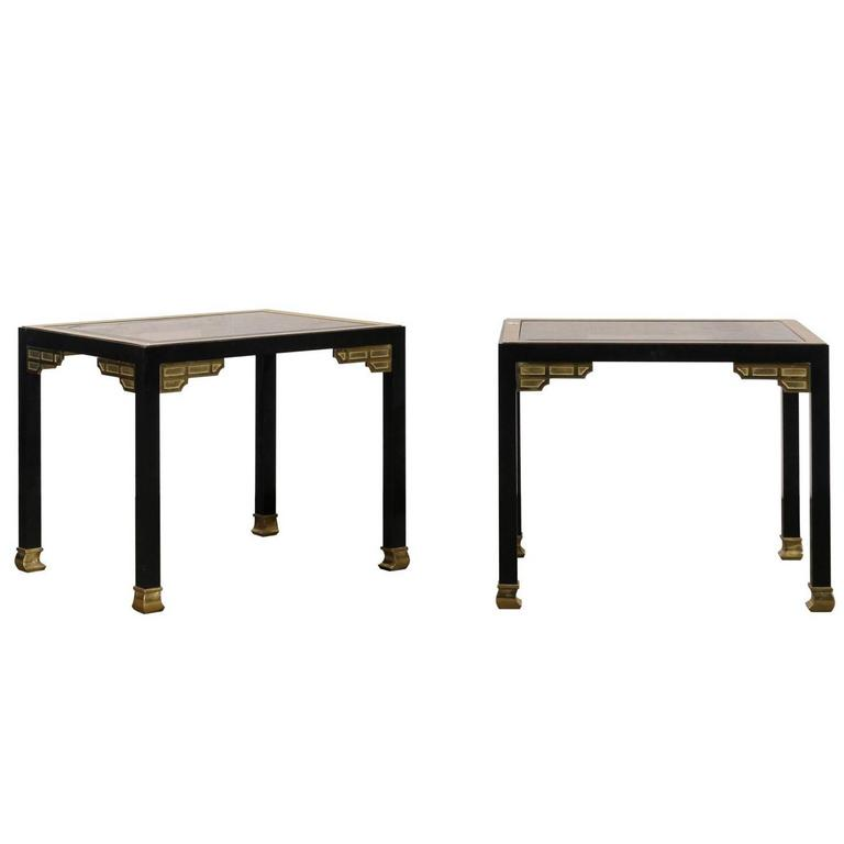 Pair of Midcentury Black and Gold Side Tables Attributed to Maison Charles