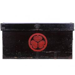 Japanese Edo Period Black and Red Lacquered Clothing Chest