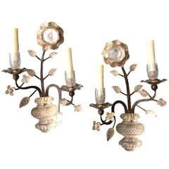 Pair of Bagues Iron Sconces with Crystal