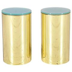 Curtis Jere Brass Pedestal Side Tables with Light Up Tops