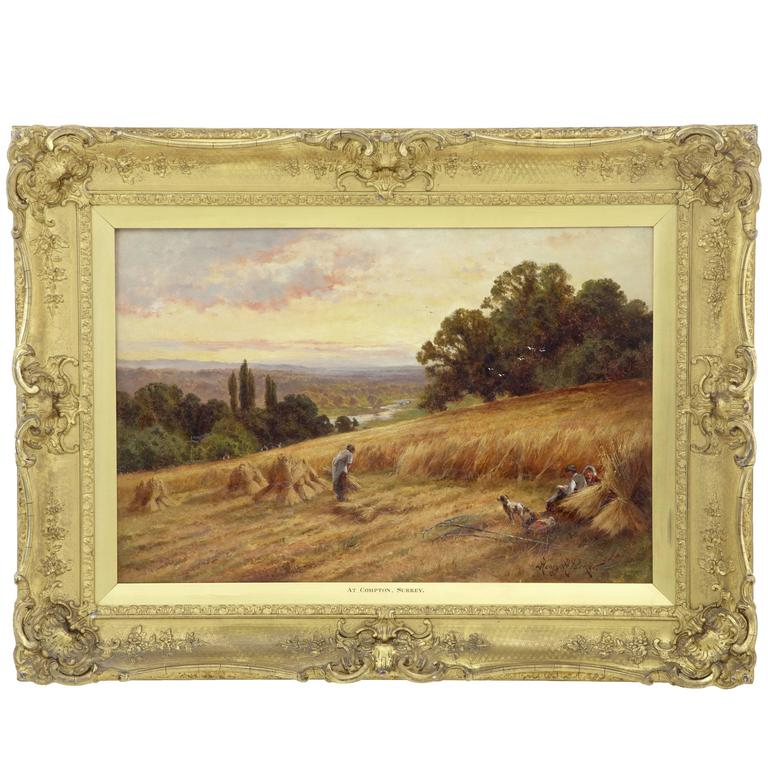 Early 20th Century Oil on Canvas by Henry Hillier Parker 'Compton' For Sale