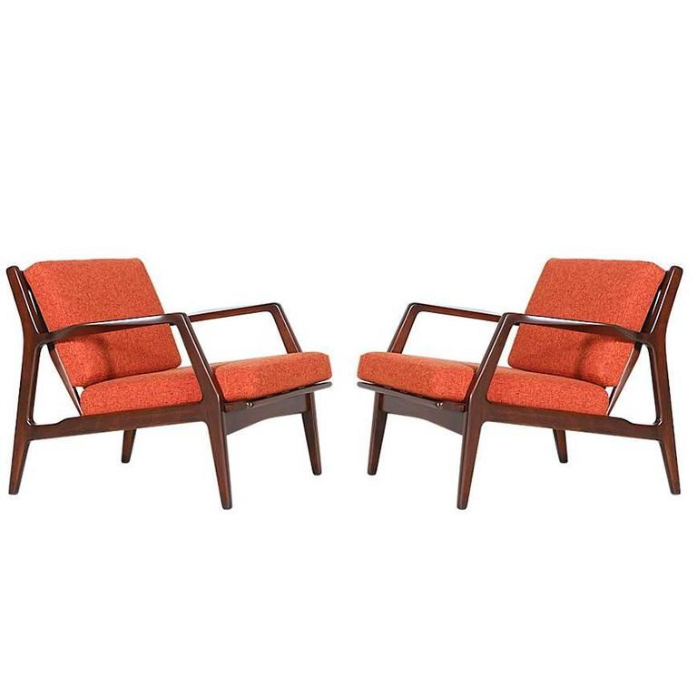 Ib Kofod Larsen Lounge Chairs for Selig at 1stdibs