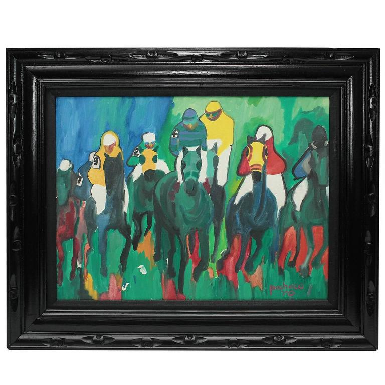 "Vintage ""Horse Race"", Pacheco Painting"