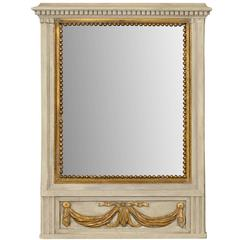 French Mirror in Small Size with Antiqued Glass and Gold Swag Motif on Beige