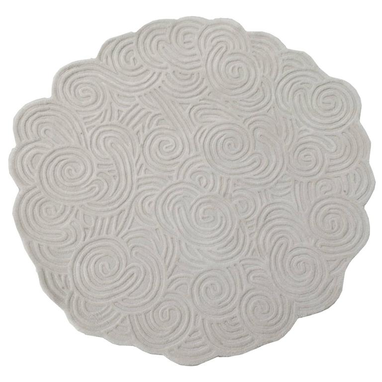 Karesansui Round Wool Rug In Gravel By Matteo Cibic For