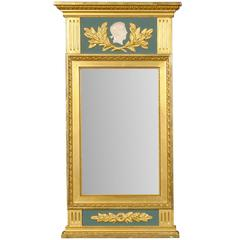 Swedish Neoclassical Style Gilded & Green Mirror with Beaded and Fluted Elements