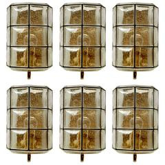 Three Iron and Bubble Glass Sconces Wall Lamps by Limburg Germany, 1960s