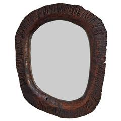 Rustic Redwood Frame with Beveled Mirror