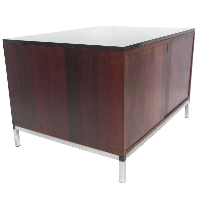 Beau Midcentury Rosewood And Marble Top Cabinet In The Style Of Florence Knoll