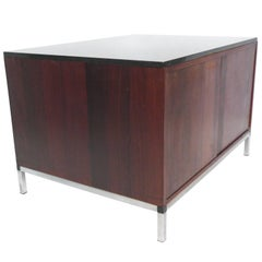 Midcentury Rosewood and Marble-Top Cabinet in the Style of Florence Knoll