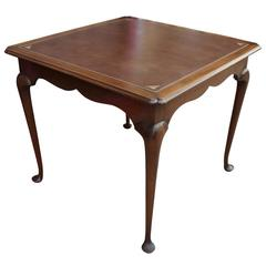 Queen Anne Leather Topped Square Game Table