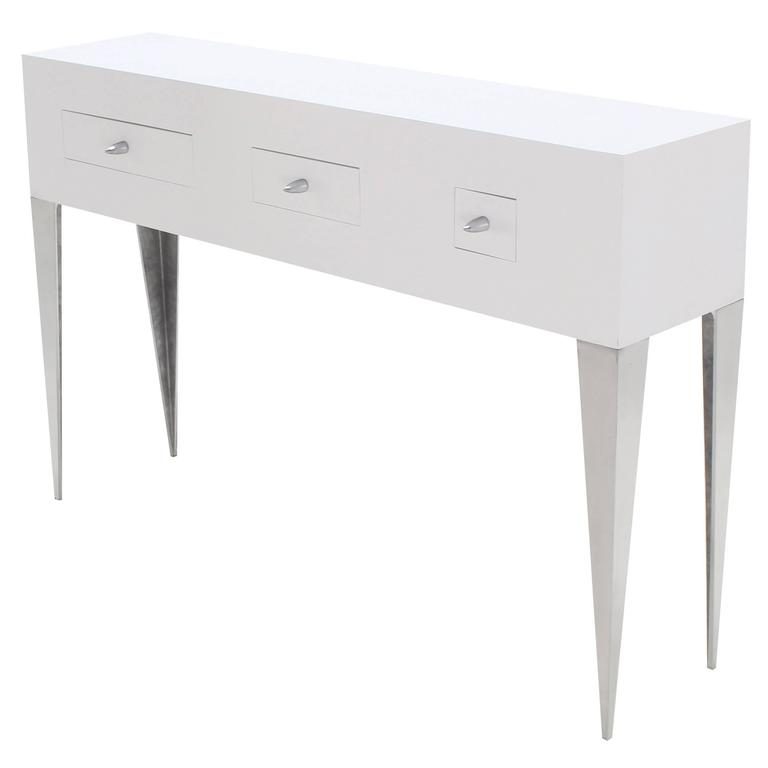 White lacquer console table cabinet tall tempered legs for Tall console table